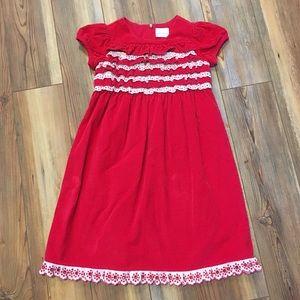 Hanna Anderson Girls Corduroy Dress w/ ribbon trim